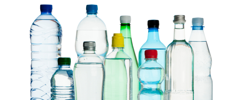 Graphic showing several water bottles varying in size.