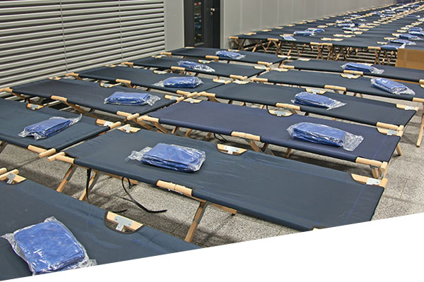 a shelter with cots